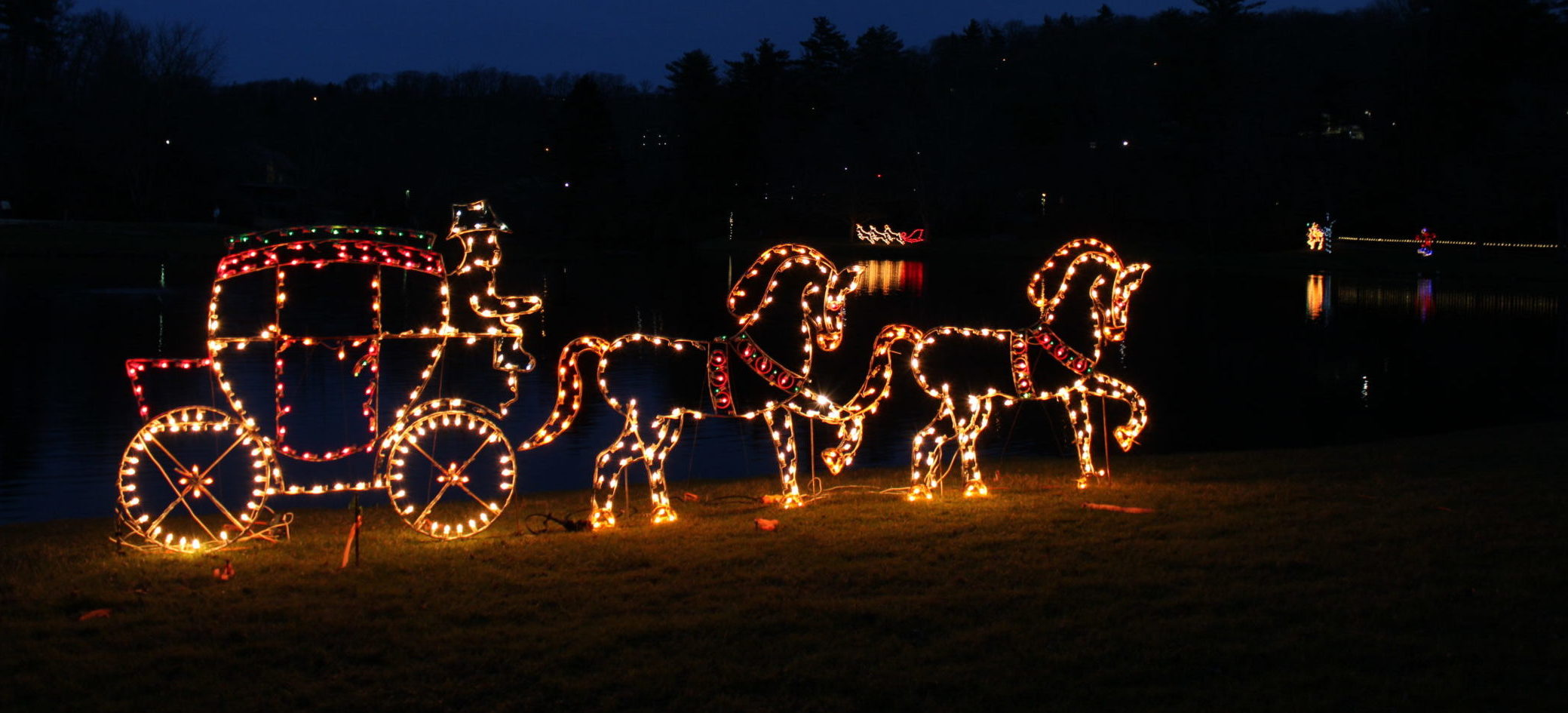 Holiday Lights: Carriage pulled by 2 horses.