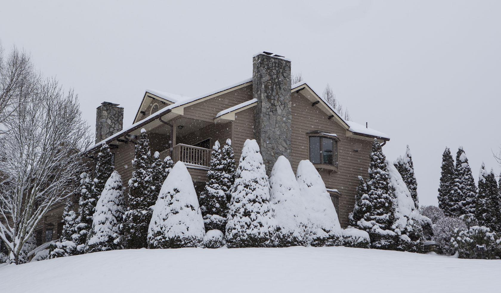 snow covered condo
