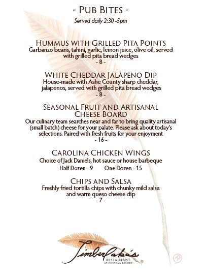 pub bites menu