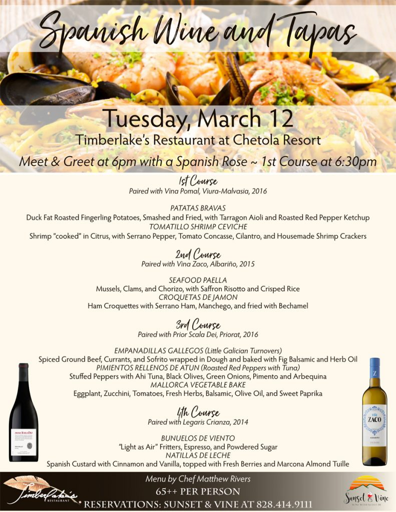 Spanish Wine & Tapas Wine Dinner