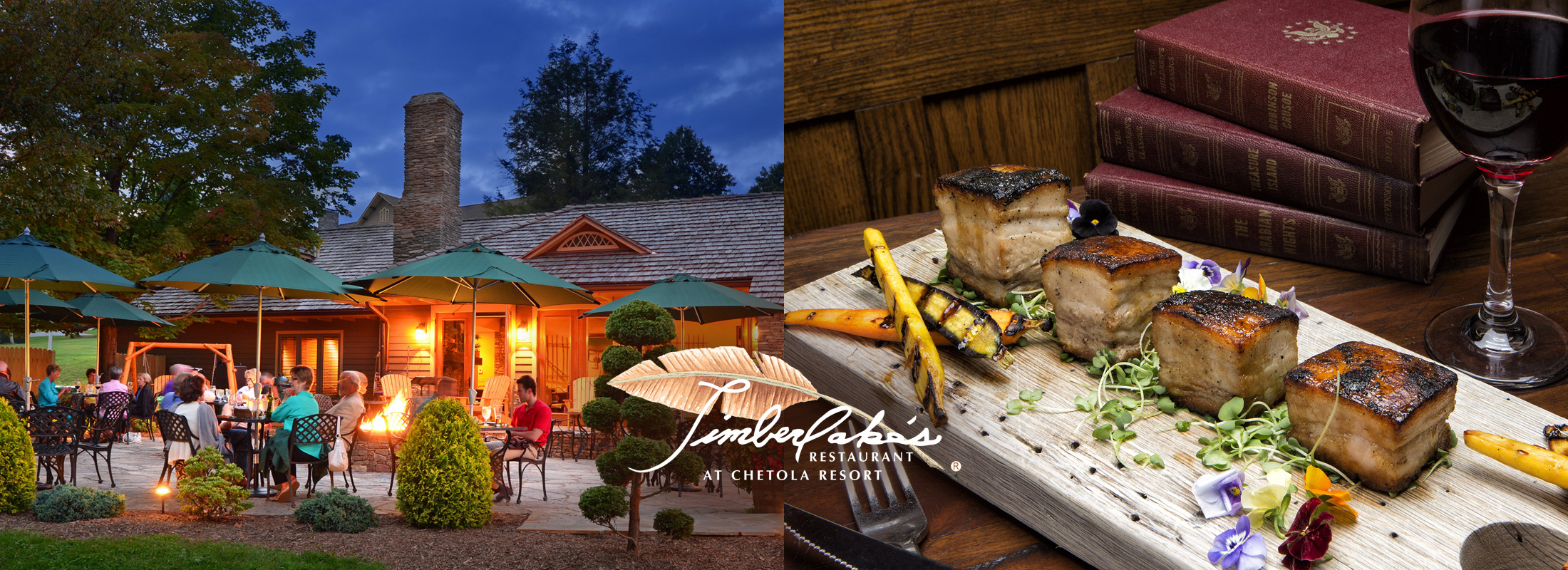 image of timberlake's patio on left and scallops plate on right - click to go into the restaurant page